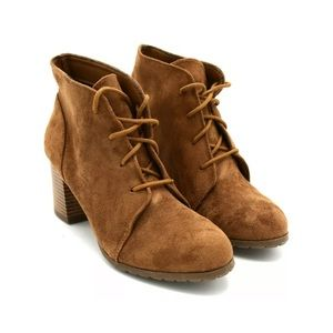 MADDEN GIRL BROWN SUEDE TORCH LACE UP BOOTIES